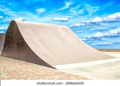 Big jumps in skate park.