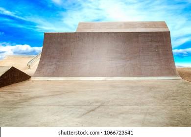Big jumps in skate park.