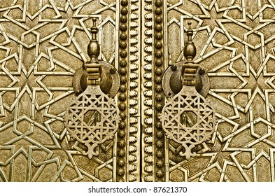 The big knockers of the Royal Palace's door, in Fez Morocco