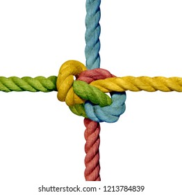 big knot in a rope tied together isolated