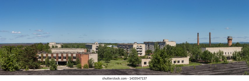 Big landscape of some abandoned city or Industrial Zone or ghetto in Third world country