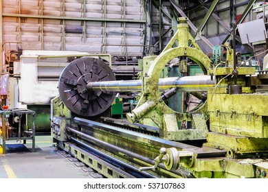 big lathe in factory working