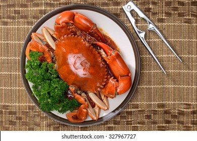 Big leg crab curry dish seafood in Restaurant dinner food top view