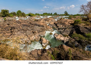 Big Li Phi waterfall in Laos - Tat Somphamit, don khone, si phan don on four thousand islands in Laos. Landscape of nature in south east asia during summer.