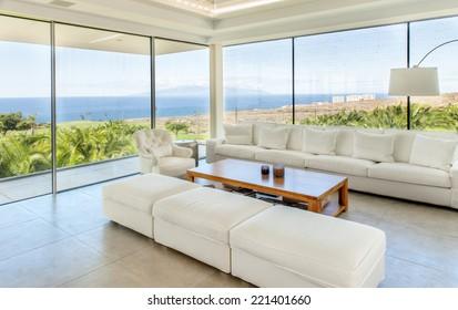 big living room with beautiful sea view