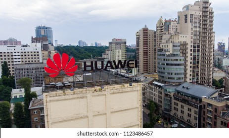 The big logo of the company HUAWEI is visible on the building in the center of Kiev, Ukraine. July 29, 2018
