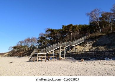 Big long ladder on the beach outdoors