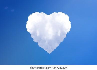 Big loved cloud heart on sky background
