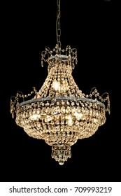 Big luxury chandelier with lot of crystals