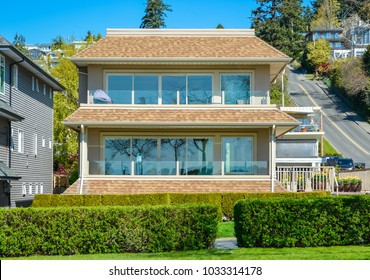 Big luxury residential house on blue sky background