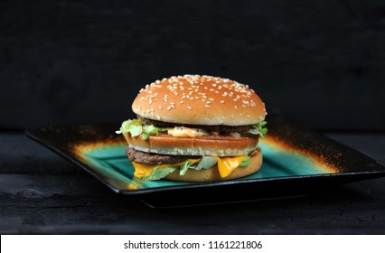 Big Mac Fast food on black background