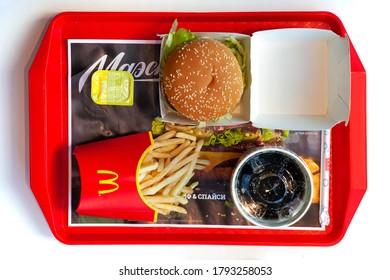Big Mac hamburger menu in McDonald's restaurant. Top view. Minsk, Belarus, May 6, 2018