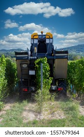 Big machine working ina grape rows