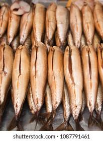 The big mackerels on a counter