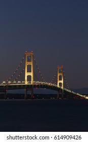 Big Mackinac Bridge At Night