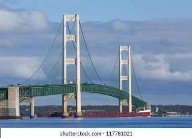 Big Mackinac Bridge and Ship