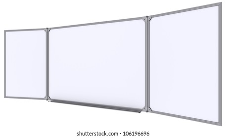 Big magnetic white board. Isolated on white background