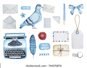 Big mail set of different postal elements. Various envelopes, pigeon bird, postage stamps, typewriter, parcel, stickers, stationery, tags, postal ornament, wax seal, arrows, forget-me-not flower, bow.