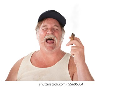 Big man with cigar and hat laughing loudly