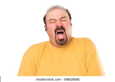 Big man is getting ready to sneeze, stay away, he is not even covering his mouth. Isolated on white.