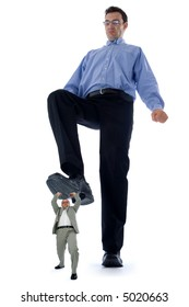 Big man stepping on a little one. Conceptual view of how big companies destroy the little ones.
