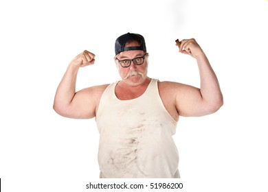 Big man in tee shirt with cigar and thick eyeglasses