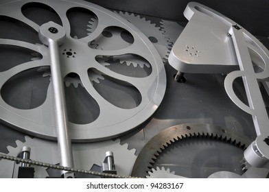 Big mechanical components shown on the wall