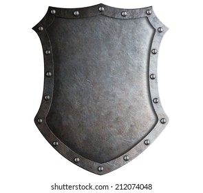big medieval metal shield isolated on white