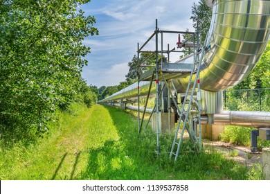 Big metal gas pipeline distributes gas