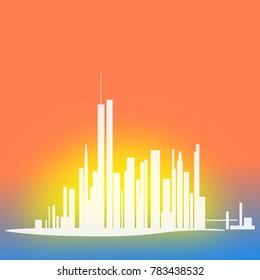 Big metropolis on the background of the setting sun illustration.