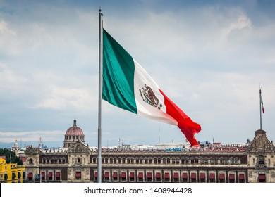 Big Mexican flag in main square Zocalo