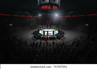 big mma fighting arena with lots of fans 3d rendering