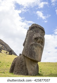 A big moai head in the Easter Island quarry