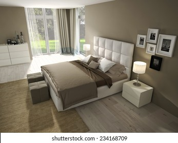 Big modern Bedroom in an chic apartment. 3d rendering