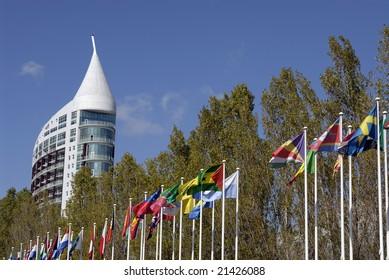 Big modern building in Lisbon nations park