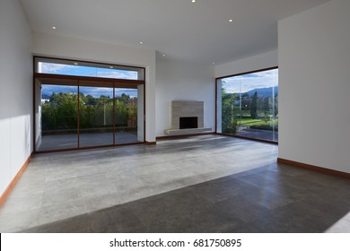 big modern empty living room