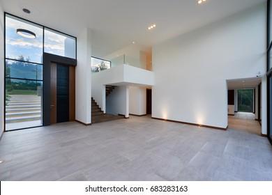 big modern empty living room