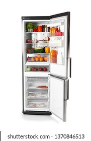 Big modern fridge with fresh products on white background