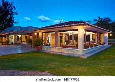 Big modern house at night
