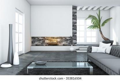 Big Modern Living Room With Chimney 3d Rendering