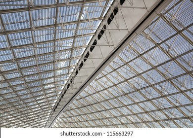 Big, modern roof covering Charles de Gaulle airport, Paris, France