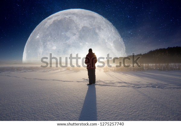 Big moon in the landscape