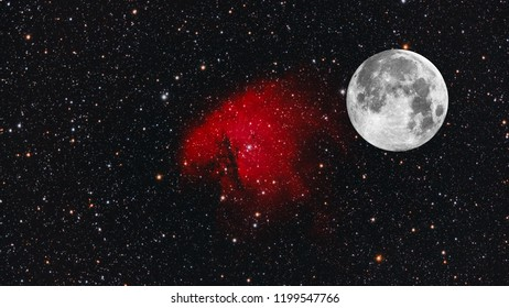 Big Moon and NGC 281 as background with many stars around, all object of this composition are taken with telescope.