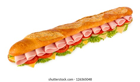 big mortadella sandwich in front of white background