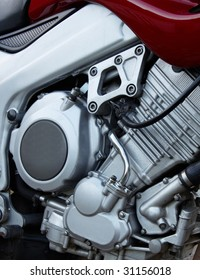 The big motorcycle engine chrome background