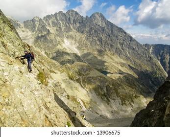 Big mountain, beauty view and climbing man in polish mountain