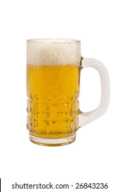 Big mug full of beer with froth isolated on white with clipping path.