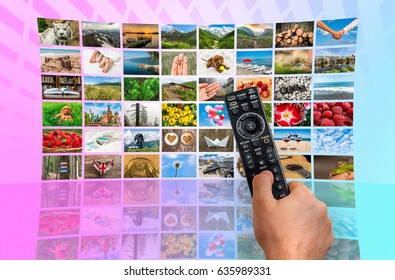 Big multimedia broadcast video wall with remote control - broadcasting and multimedia concept