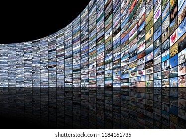 Big multimedia video and image video wall of the TV widescreen