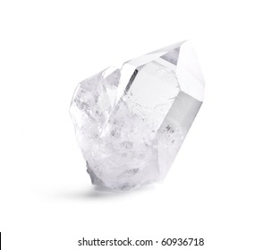 Big natural double quartz crystal isolated on white.